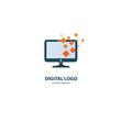 Vector stock logo, abstract digital technology vector template.
