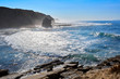 Beautiful cliff rocks and waves on the west coast of Portugal in Peniche