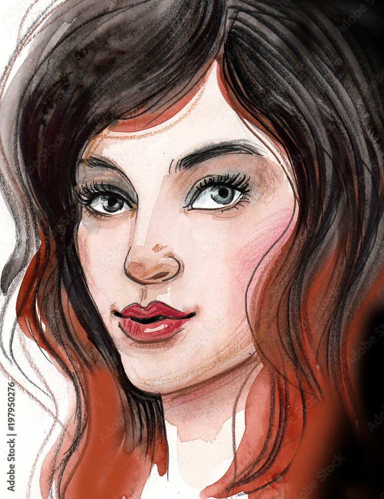 Beautiful woman watercolor portrait