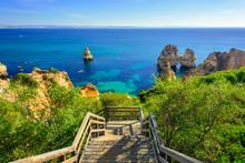 Wooden Walkway To Secret Beach Near Lagos On Ponta Da Piedade. Algarve Region