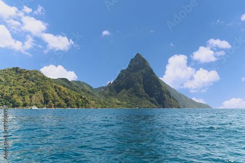 Foto auf Gartenposter Reflexion Soufriere bay - Petit Piton area - Caribbean island - Saint Lucia
