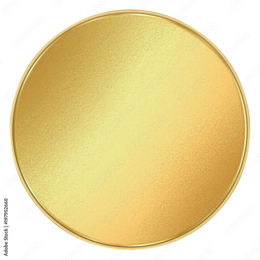 Fototapety, obrazy: vector shiny round blank template for coins, medals, buttons, gold labels