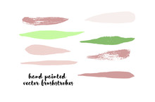 Green Stripes Or Lines. Hand Painted Vector Ink Banners. Vintage Logo Stains, Graffiti Doodle. Spring Green Stripes, Hipster Vector Brushstrokes.  Funky Grunge Frame Element, Button Or Brushed Banners