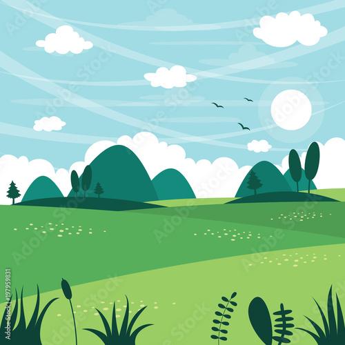 Foto op Canvas Lichtblauw Vector Illustration Of Flat Landscape
