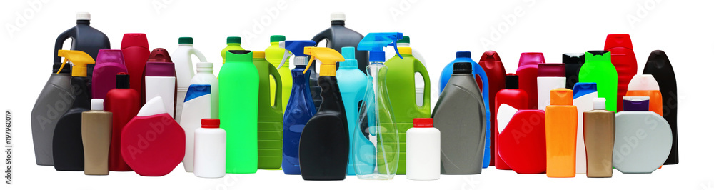 Fototapeta Many plastic containers of different shapes and colors isolated on white background