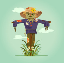 Happy Smiling Scarecrow Charac...