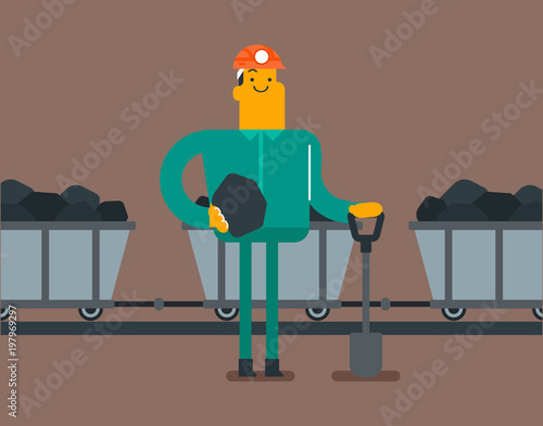 Obraz na plátně Caucasian white miner in hard hat standing on the background of mining trolley with coal and minerals