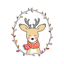 Vector Illustration Character Design Cute Deer In Autumn Season Draw Doodle Style