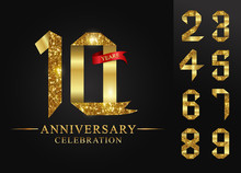 10 - 90 Years Anniversary, 0 - 9 Numbers.Celebration Anniversary Celebration Logotype. Logo With Golden Ribbons On Black Background, Vector Design For Invitation Card,number Gold Ribbon Foil.