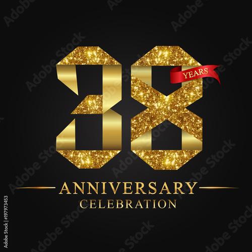 Poster anniversary, aniversary, 38 years anniversary celebration logotype