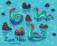 Cartoon Loch Ness Monsters And...