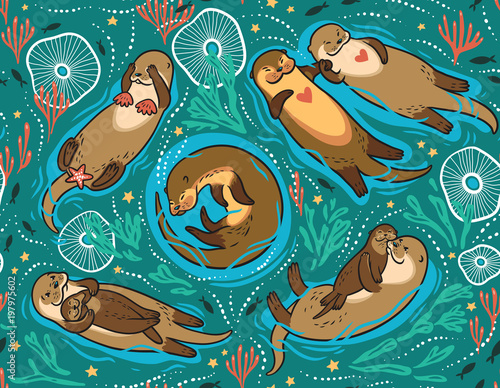 Tela Vector seamless pattern with cute lovely otters in the sea