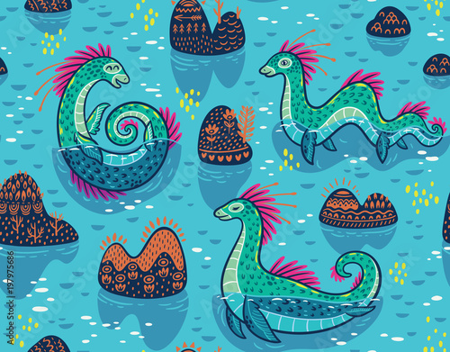 Vector seamless pattern with cute Loch Ness Monsters and decorative hills in the lake. Cartoon blue surface background