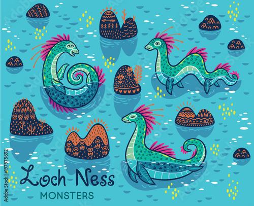 Cartoon Loch Ness Monsters And Decorative Hills In The Lake Vector Children Collection Buy This Stock Vector And Explore Similar Vectors At Adobe Stock Adobe Stock