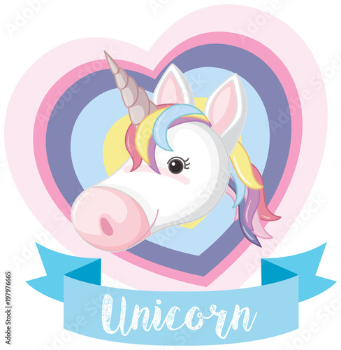 Deurstickers Pony Banner design with unicorn head