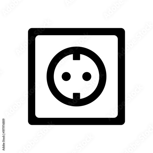Fotografía socket plug icon isolated vector, outline vector