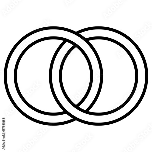 Fototapeta  Interlocking circles icon sign,  outline rings