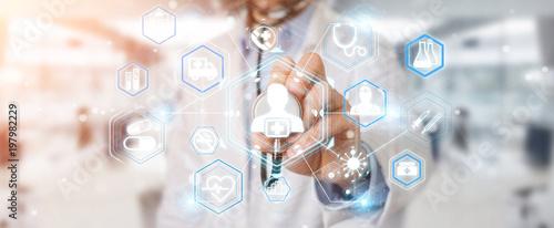 Staande foto Vlees Doctor using digital medical futuristic interface 3D rendering