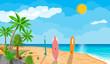 Landscape of palm tree on beach surfboard