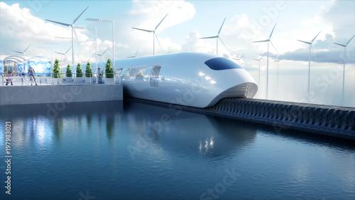 szybko Futurystyczny pociąg jednoszynowy. Stacja Sci fi. Pojęcie przyszłości. Ludzie i roboty. Woda i energia wiatru. Renderowania 3d.