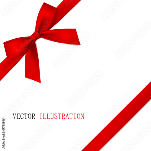Fototapeta Red bow with diagonally ribbon on the corner. Vector.