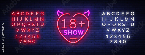 Fototapeta Sex show neon sign. Bright night banner in neon style, neon billboards for advertising sex shows, sex shop, intimate services, adult shows. Vector illustration. Editing text neon sign obraz