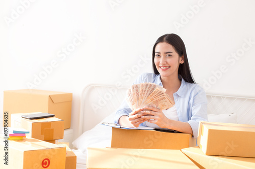 Fotografija Young Asian Woman Working at home, Young Owner Woman Start up for Business Online