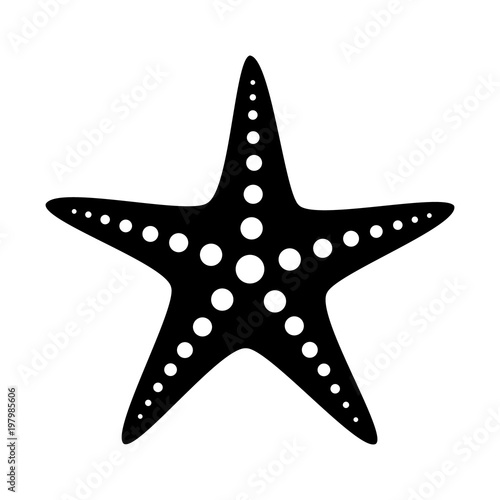 Common starfish or sea star fish marine life flat vector icon for apps and websi Canvas Print