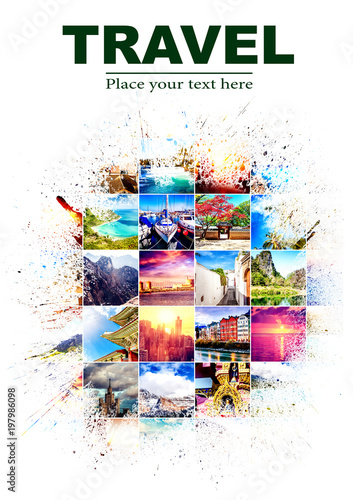 Background with many photos from vacation from different parts of the world with  effect of splashes on white background. Design, advertising, concept