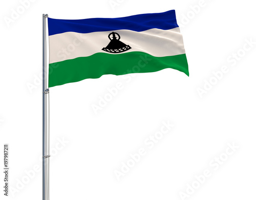 Poster  Isolate flag of Kingdom of Lesotho on a flagpole fluttering in the wind on a white background