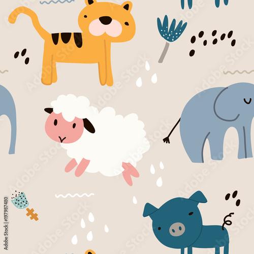 dziecinna-wzor-ze-zwierzeciem-tworczy-dziecinna-tekstura-wielki-dla-tkaniny-tekstylna-wektorowa-ilustracja
