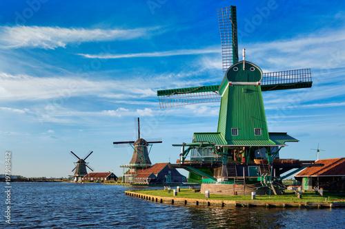 Windmills at Zaanse Schans in Holland on sunset. Zaandam, Nether Canvas-taulu
