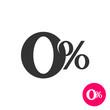 0 percents. Zero percent symbol. No comission sign