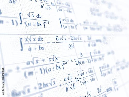 Math concept - Mathematical integral formulas. 3d rendering Fototapete