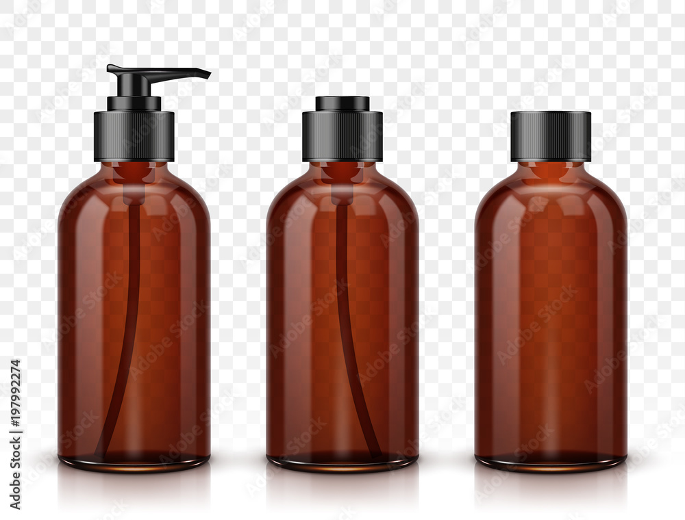 Fototapeta Brown cosmetic bottles isolated on transparent background