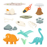 Fototapeta Dinusie - Dinosaurs, stones and other different symbols of prehistoric period