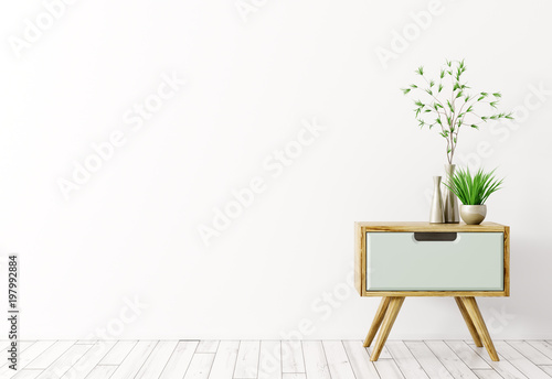 Interior with wooden side table 3d render Canvas Print