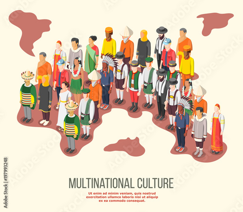 Multinational Culture Isometric Composition Tapéta, Fotótapéta