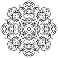 Monochrome Mandala For Colorin...