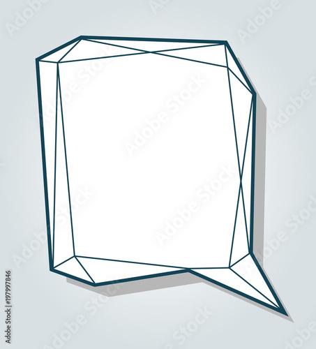 low polygon blue speech talk balloon diamond shape template for
