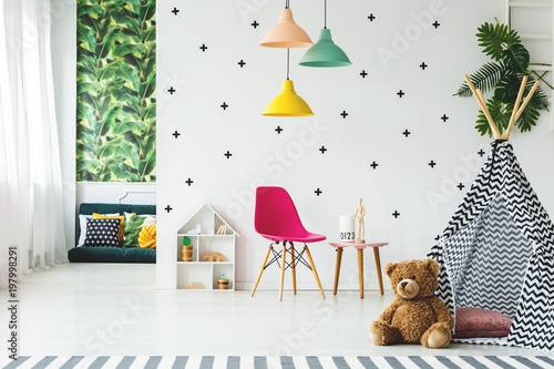 Tent in scandinavian child's room - Buy this stock photo and