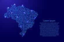 Map Brazil From Printed Board, Chip And Radio Component With Blue Star Space On The Contour For Banner, Poster, Greeting Card, Of Vector Illustration.