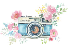 Watercolor Photo Label. Hand D...