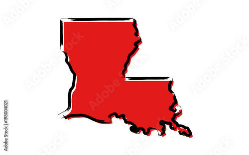 Fényképezés Stylized red sketch map of Louisiana