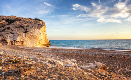 Spoed Foto op Canvas Cyprus Sunset on the beach, the Mediterranean Sea, Cyprus, the beach of Aphrodite. Beautiful seascape