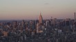 New York City telphoto aerial view of the Midtown Manhattan Skyline at sunset from the East Villiage.