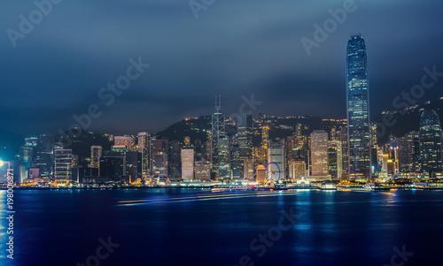 Fototapety, obrazy: Hong Kong Victoria harbor at Earth Hour 2018