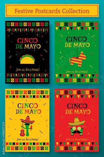 set of cinco de mayo party poster template festive vector