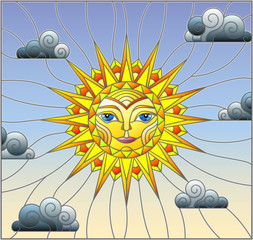 Naklejka Illustration in stained glass style with fabulous sun with the face on the background of sky and clouds