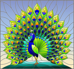 Naklejka Illustration in stained glass style with colorful peacock on blue sky , background